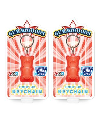 Red Light-Up Bear Key Chain Set