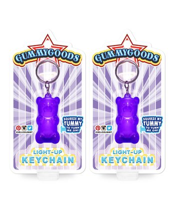 Purple Light-Up Bear Key Chain Set
