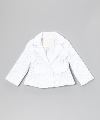 White Eyelet Blazer - Toddler & Girls