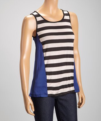 Black & Royal Blue Stripe Tank