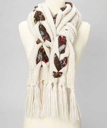 Oatmeal Cable-Knit Floral Scarf