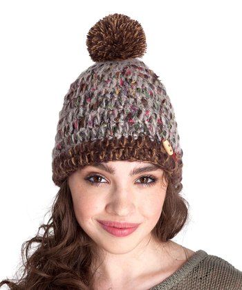Oatmeal Hat & Brown Pom-Pom Beanie