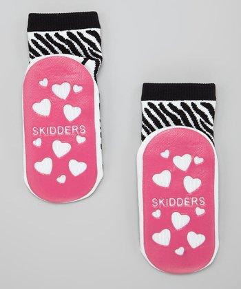 Skidders Black Zebra Gripper Socks