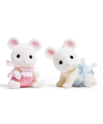 Calico Mouse Twins Figurine Set