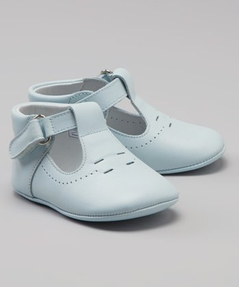 Celeste Blue Perforated T-Strap Shoe