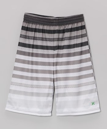 Black Stripe Crikey Mesh Shorts - Boys