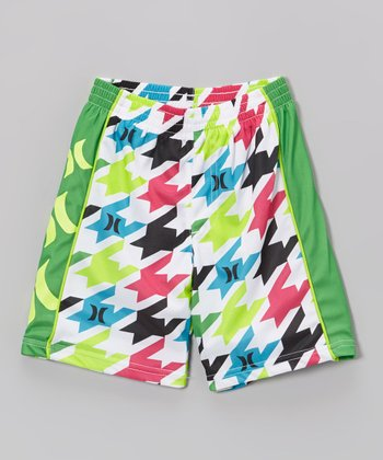 White & Green Houndstooth Mesh Shorts - Boys