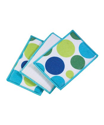 Cool Polka Dot Microfiber Sponge - Set of Six