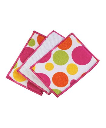 Warm Polka Dot Microfiber Sponge - Set of Six
