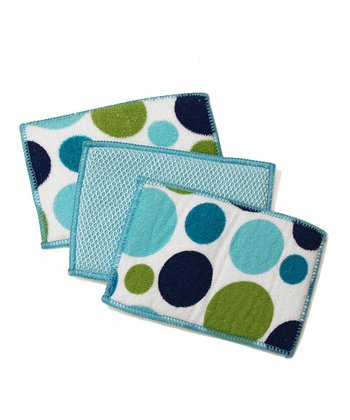 Cream Polka Dot Microfiber Sponge - Set of Six