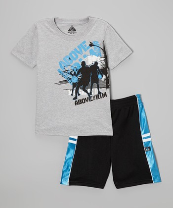 Above The Rim Gray Dribble Tee & Black Shorts - Infant, Toddler & Boys