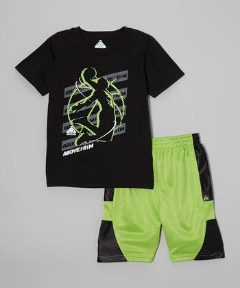 Above The Rim Black Dunk Tee & Green Shorts - Infant, Toddler & Boys