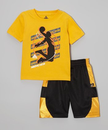 Above The Rim Yellow Dunk Tee & Black Shorts - Infant, Toddler & Boys