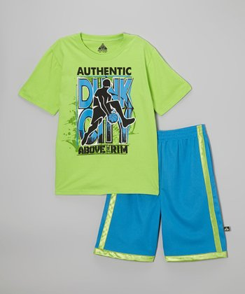 Above The Rim Lime Green 'Dunk City' Tee & Blue Shorts - Infant, Toddler & Boys