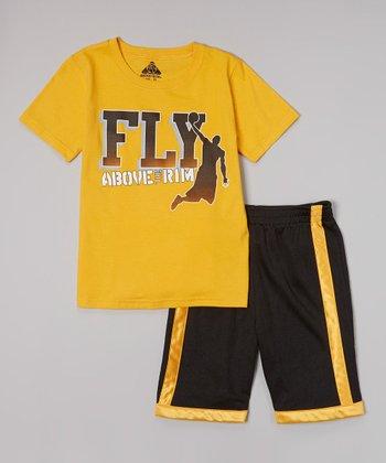 Above The Rim Orange 'Fly' Tee & Black Shorts - Infant, Toddler & Boys