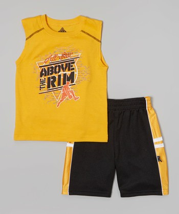 Above The Rim Orange 'All Star' Sleeveless Tee & Shorts - Toddler & Boys