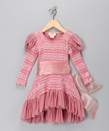 Dusty Rose Princess Lace Dress - Toddler