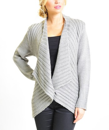 Gray Ribbed Sparkle Open Cardigan