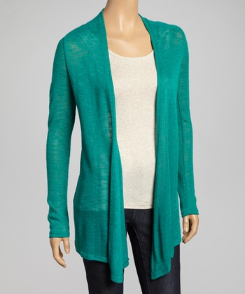 Jade Burnout Open Cardigan