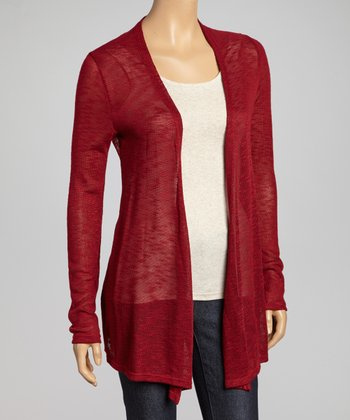 Wine Burnout Open Cardigan
