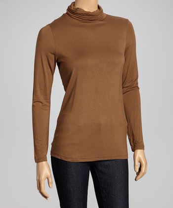 Mocha Long-Sleeve Turtleneck
