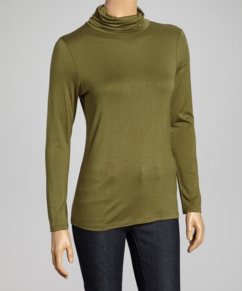 Olive Long-Sleeve Turtleneck