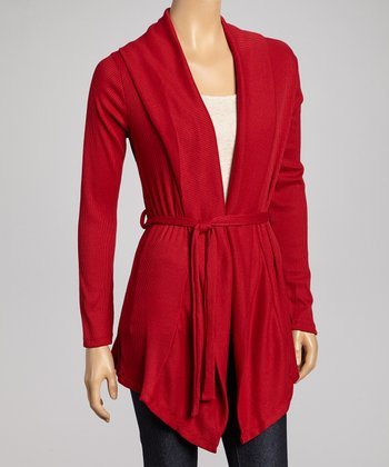 Red Tie-Waist Open Cardigan