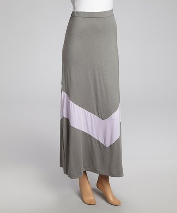 Gray & Lavender Chevron Maxi Skirt