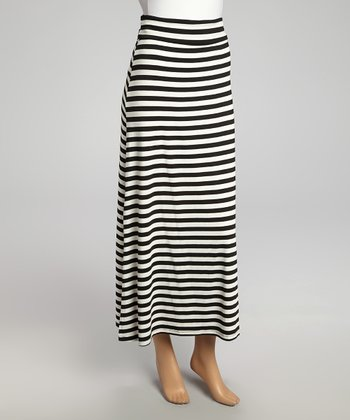 Black & White Horizontal Stripe Maxi Skirt