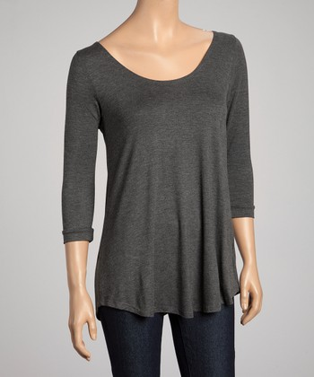 Charcoal Scoop Neck Tunic