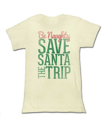 Natural 'Be Naughty' Tee - Women