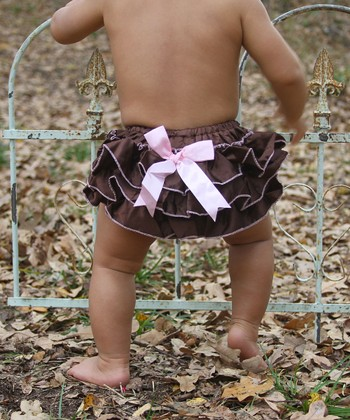 Brown Bow Ruffle Diaper Cover - Infant