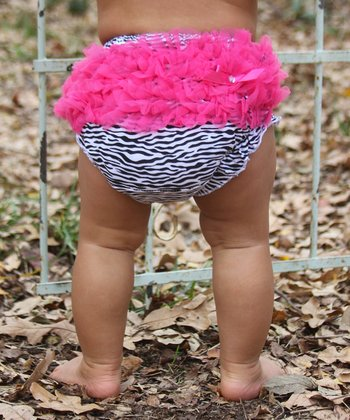 Pink Zebra Ruffle Diaper Cover - Infant