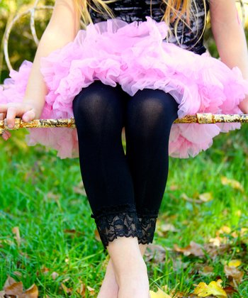 Black Lace-Trim Leggings - Toddler & Girls