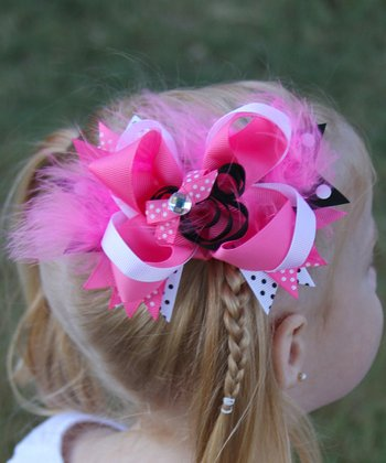 Pink & Black Mouse Bow Clip