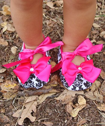 Hot Pink Damask Crystal Bow Mary Jane