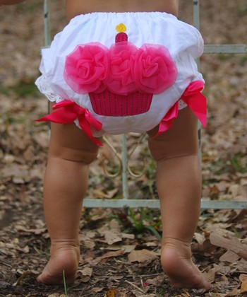 White & Hot Pink Cupcake Diaper Cover - Infant