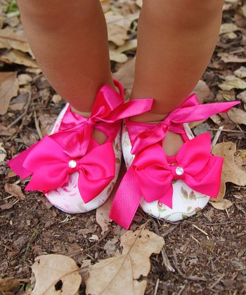 Pink Floral Crystal Bow Booties
