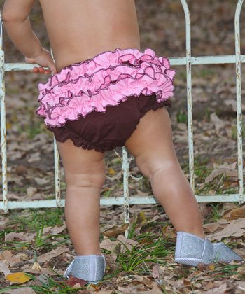 Brown & Pink Ruffle Diaper Cover - Infant