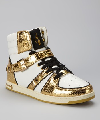 White & Gold Lure Hi-Top Sneaker - Women