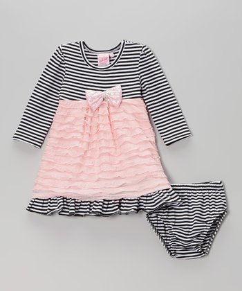 Black & Pink Stripe Ruffle Dress & Diaper Cover - Infant