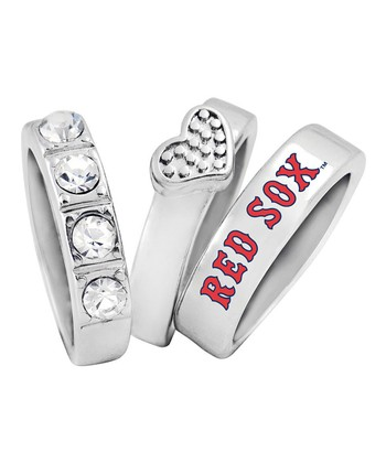 Boston Red Sox Heart Stacked Ring