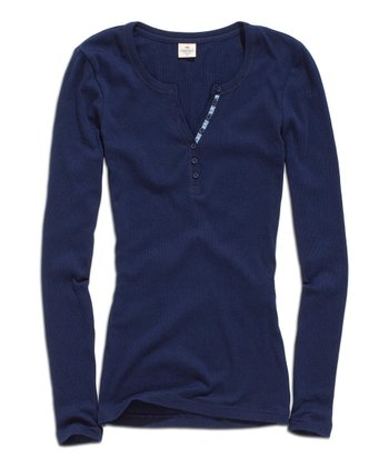 Blue Night Scoop Neck Henley