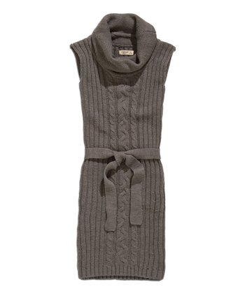Dark Gray Mélange Cowl Neck Sweater Dress