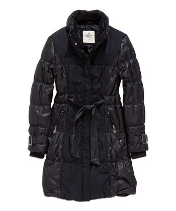 Black Puffer Trench Coat