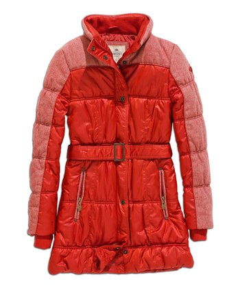 Dark Tomato Color Block Wool-Blend Puffer Jacket
