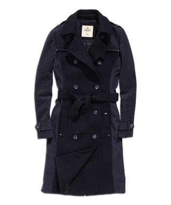 Navy & Black Color Block Wool-Blend Peacoat