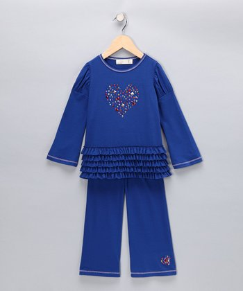 Royal Blue Heart Ruffle Tunic & Pants - Girls