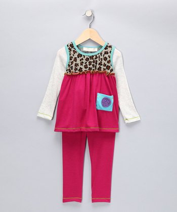 Magenta Leopard Pocket Layered Tunic & Leggings - Girls