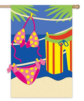 Pink & Blue Swimsuit Garden Flag
